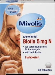 Viên uống mivolis BIOTIN 5mg bổ sung dưỡng chất cho da, tóc và móng