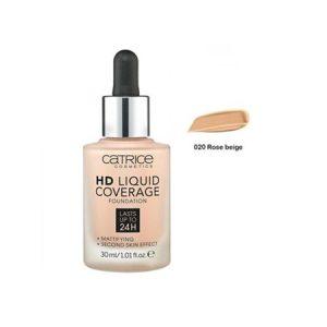 Kem Nền Catrice HD Liquid Coverage Foundation Màu Rose Beige 02