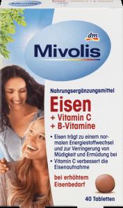 Bổ Sung Sắt Mivolis Eisen + Vitamin C + B 40 Viên Của Đức